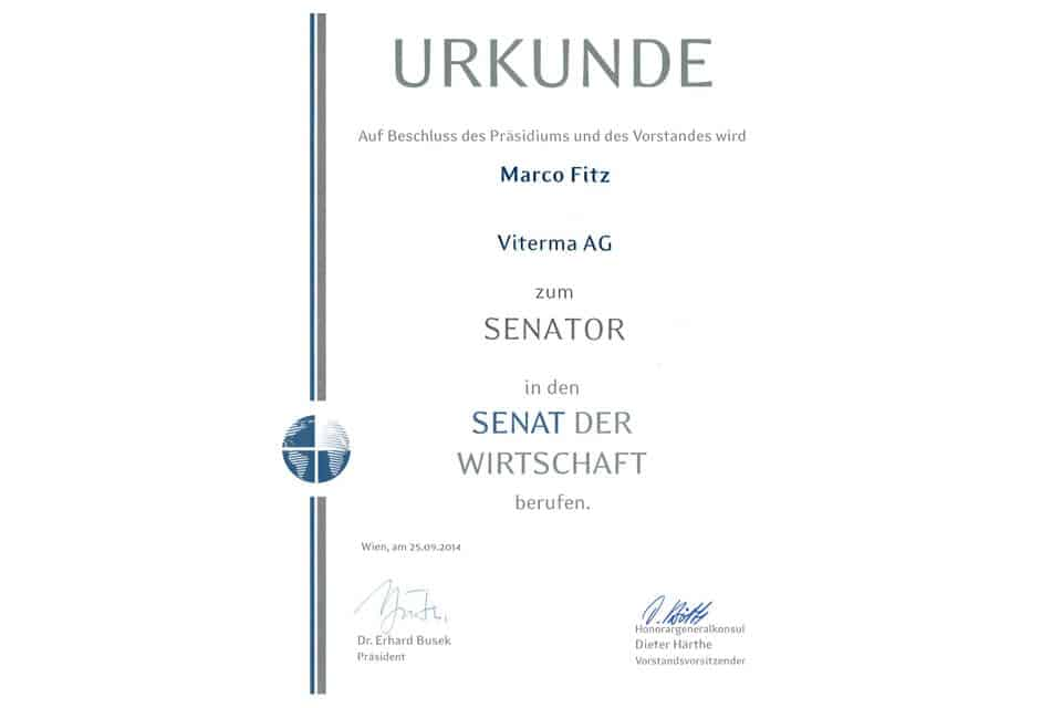 viterma Senat der Wirtschaft Urkunde
